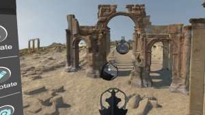 Screenshot of participants in pods, exploring Palmyra in the social VR 'Portals to the Past', The Arc/k Project, University of Oklahoma and Oklahoma Virtual Academic Laboratory project.