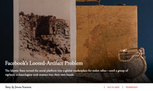 """Image: header image of The Atlantic Article """"Archaeologists Defied ISIS. Then They Took on Facebook."""""""