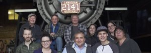 The Arc/k Project and Kamloops Heritage Railway Association in front of the 19th century Canadian National Railway steam locomotive 2141, in Kamloops, Canada photo