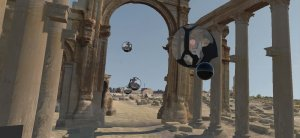 Screenshot of participants in pods exploring Palmyra in the social VR 'Portals to the Past', The Arc/k Project, University of Oklahoma and Oklahoma Virtual Academic Laboratory project rendering