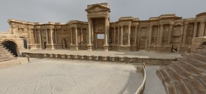 Roman Theatre at Palmyra: Interior, Perpetuity Palmyra, The Arc/k Project. Screenshot from the social VR 'Portals to the Past', The Arc/k Project, University of Oklahoma and Oklahoma Virtual Academic Laboratory project rendering