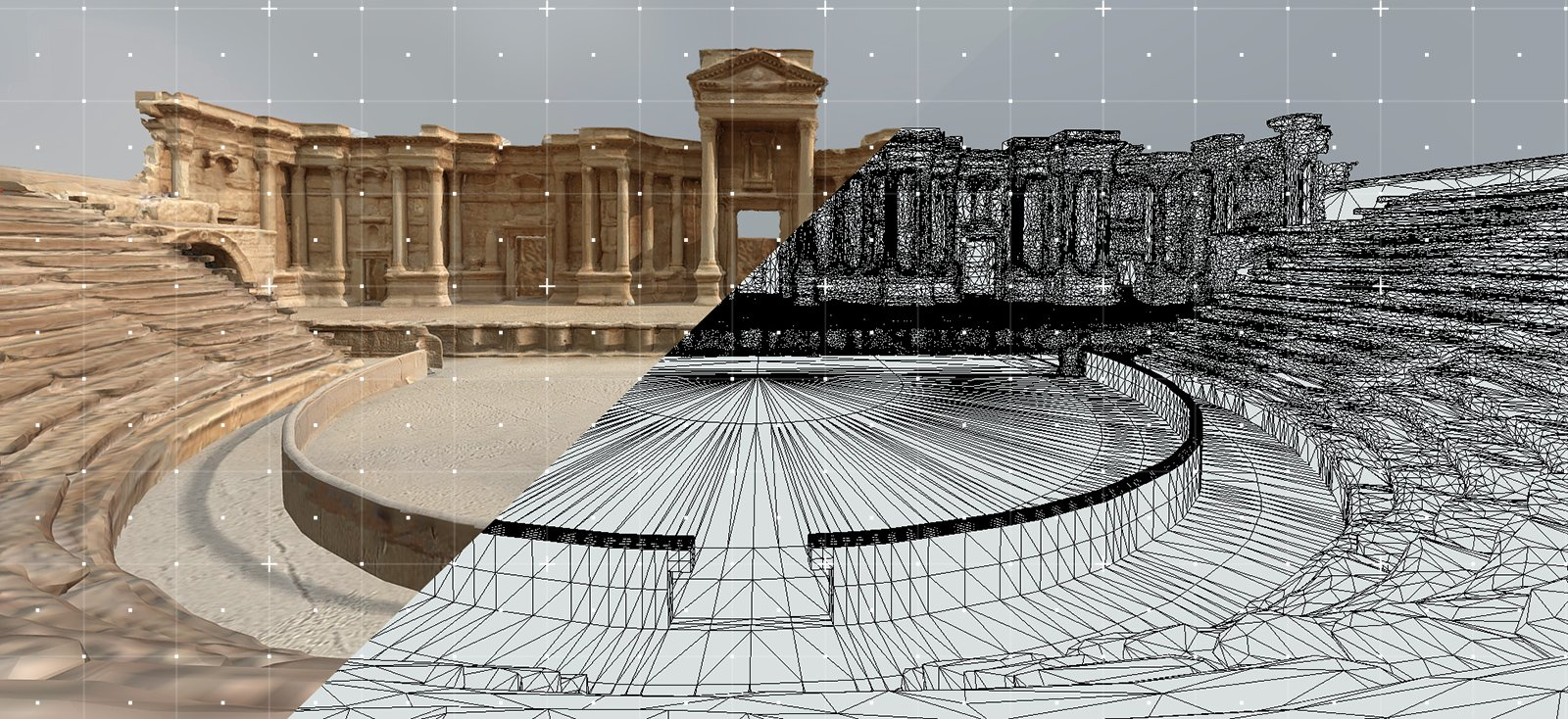 Perpetuity | Palmyra by The Arc/k Project consists of several sites: the Temple of Bel, the Arch of Triumph, The Roman Theatre, and the Fakhr-al-Din al-Ma'ani Castle in Palmyra, Syria graphic