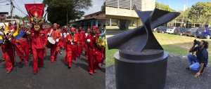 UNESCO Intangible Heritage of Dancing Devils of Corpus Christi in Yare, Venezuela - as part of our Preserving Venezuelan Culture Digitally — Initiative: Venezuela [photo by Gustavo Marcano] and Photographer in the field capturing public art as part of our Preserving Venezuelan Culture Digitally — Initiative: Venezuela side-by-side photo