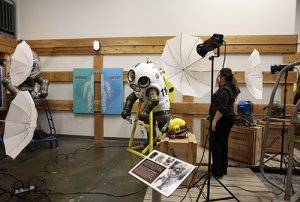 Krista of the Arc/k Project setting up the photogrammetry shoot of the JIM suit, an atmospheric diving suit in the collection of the U.S. Naval Undersea Museum photo
